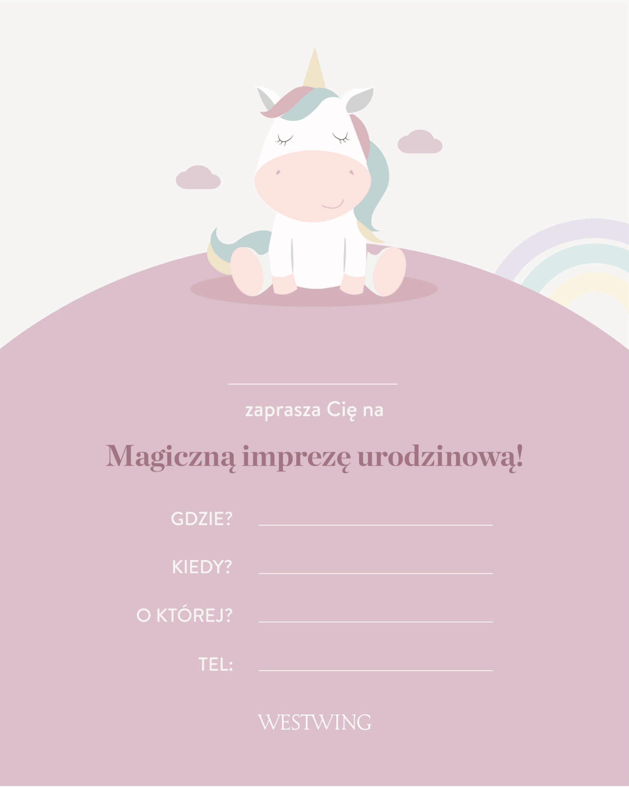zaproszenie do wydrukowania z motywem jednorożca na urodziny dla dzieci