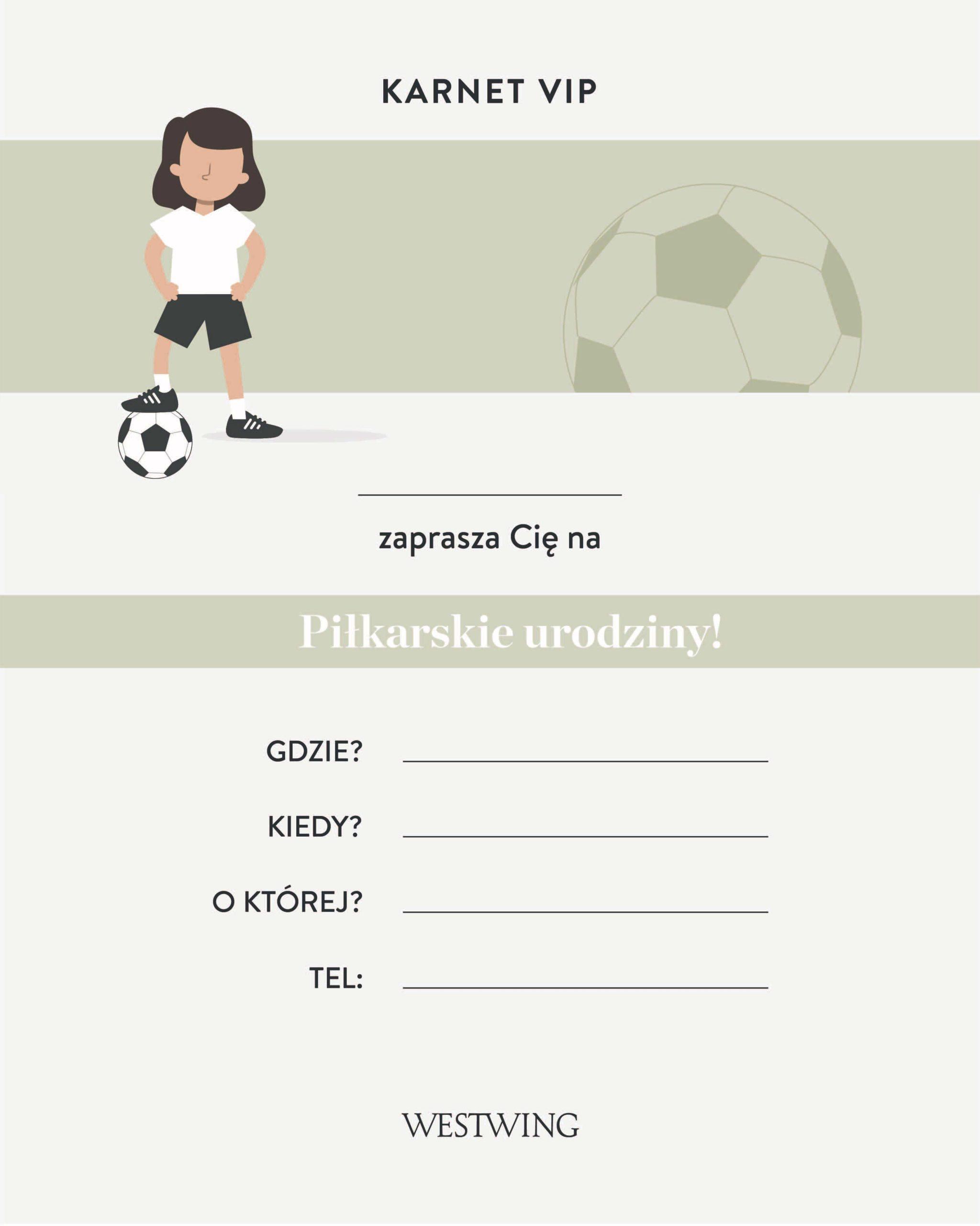 zaproszenie do wydrukowania z motywem piłkarskim na urodziny dla dzieci