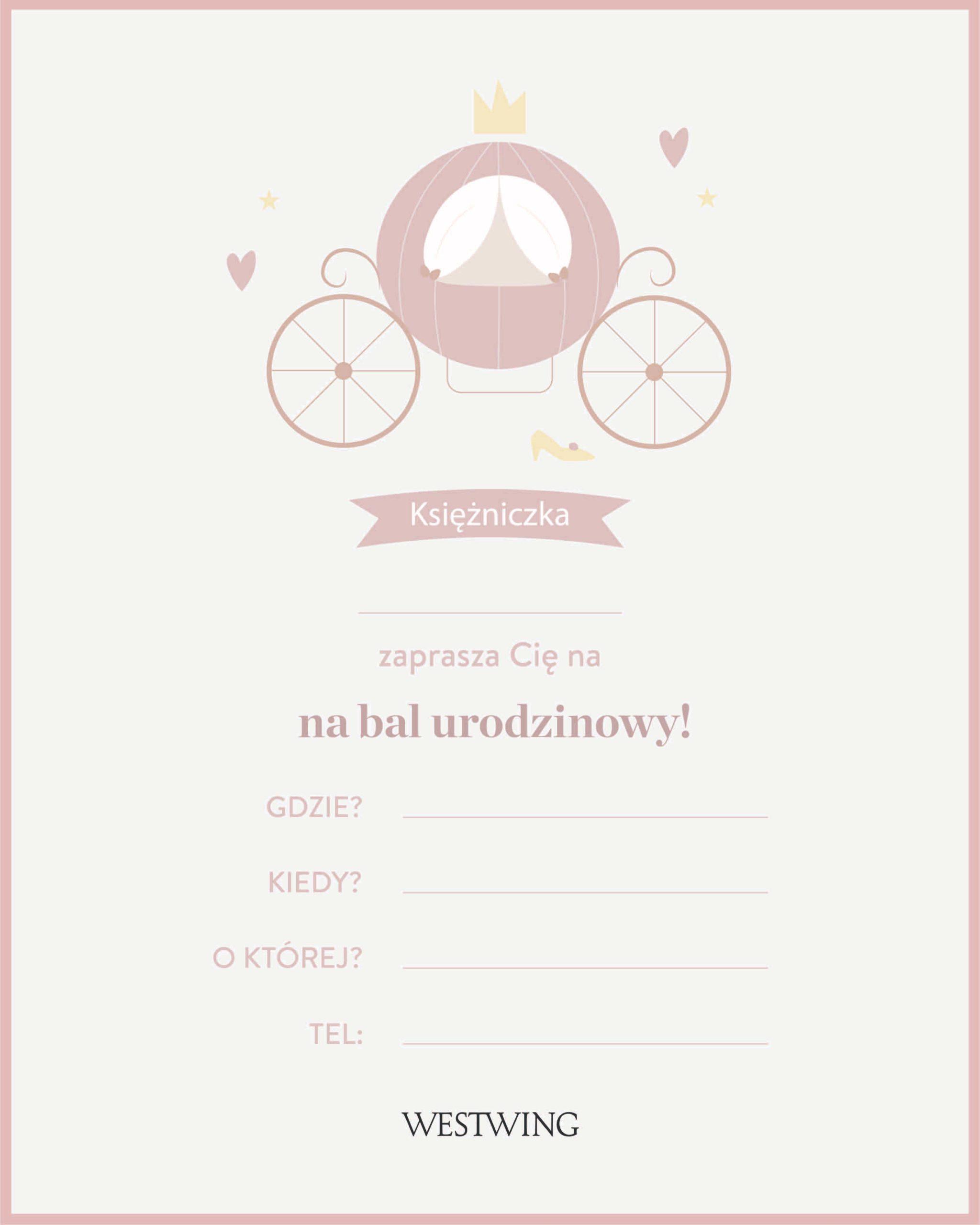 Pobierz nasze zaproszenia do wydrukowania na urodziny z motywem księżniczki!