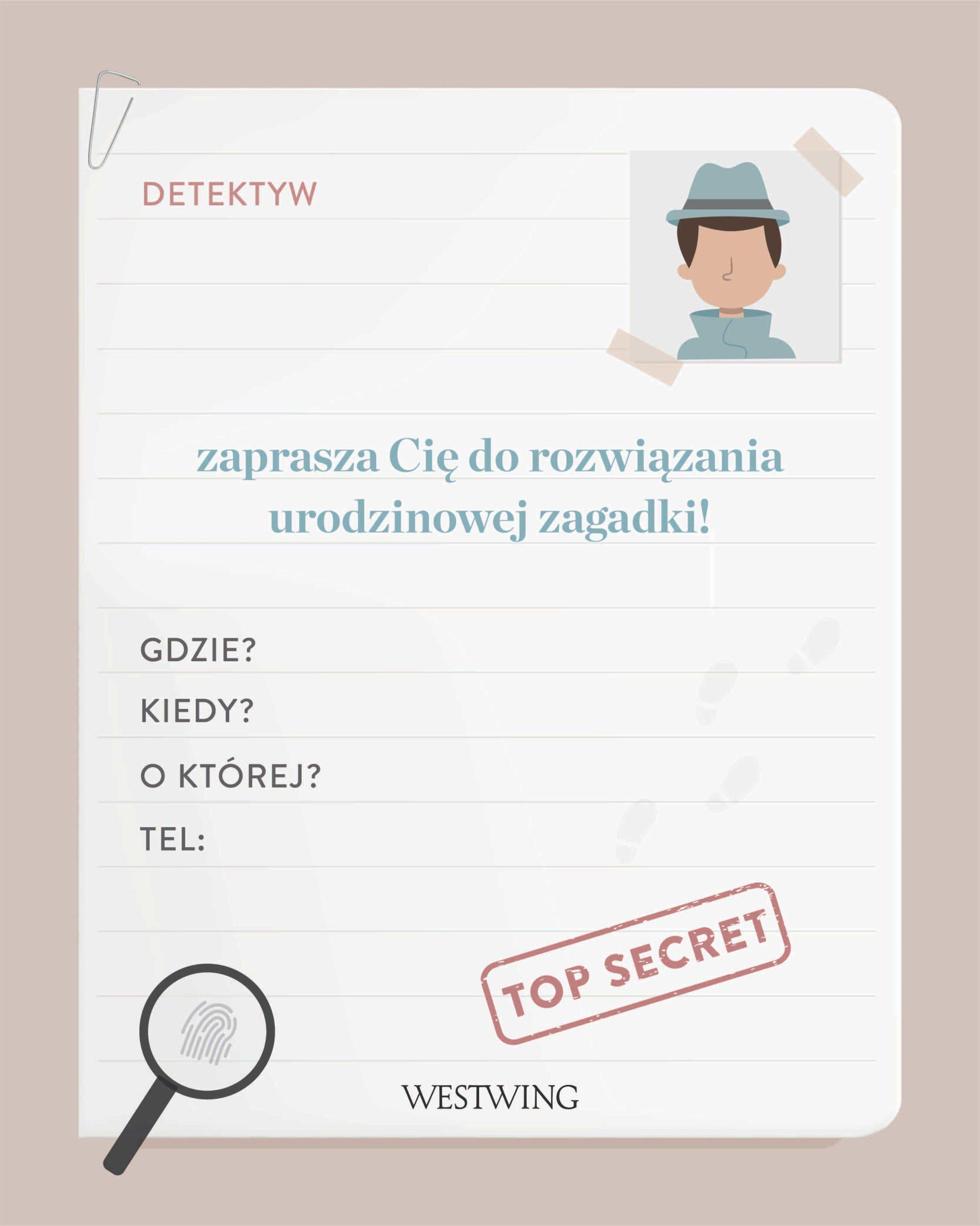 Pobierz nasze zaproszenia do wydrukowania na urodziny z motywem detektywa!
