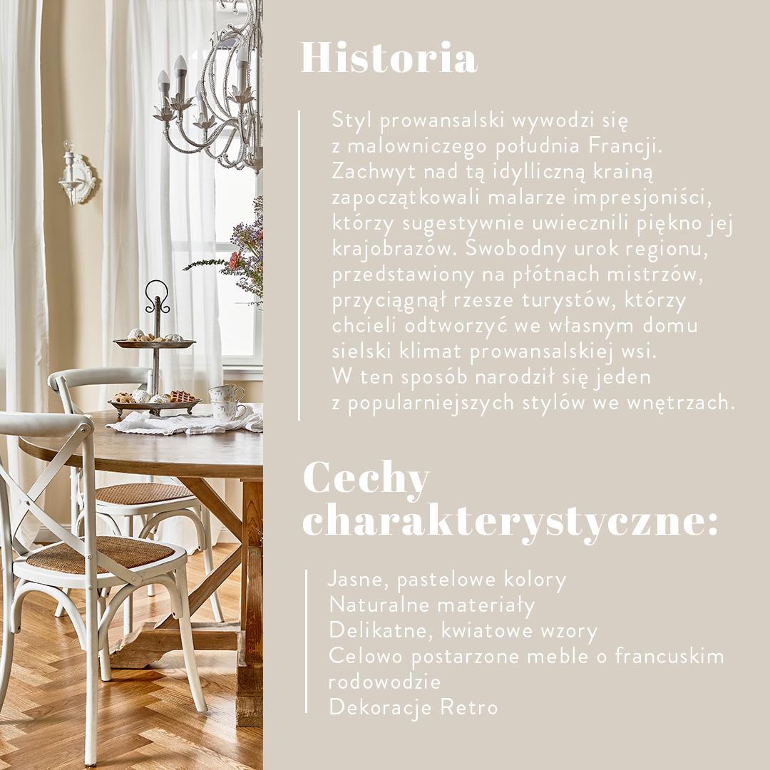 grafika z historią stylu prowansalskiego wraz ze zedjęciem jasnej jadalni z białymi krzesłami