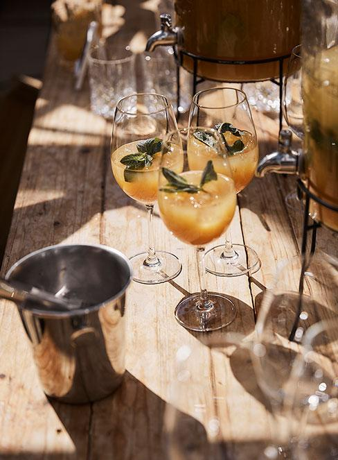 Bellini w kieliszkach od szampana na drewnianym stole