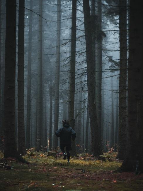 Postać biegnąca w lesie