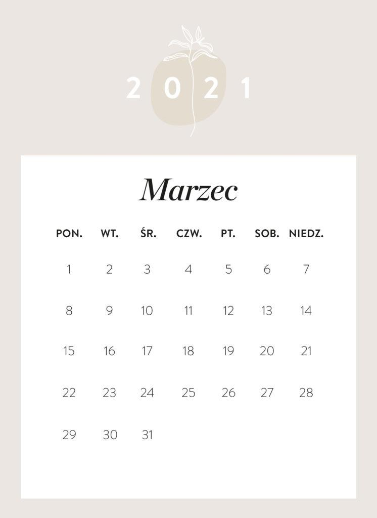 kalendarz 2021 do druku Westwing