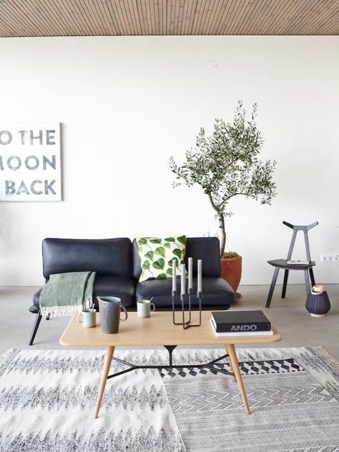 Salon w stylu japandi, czarna kanapa, obok roślina
