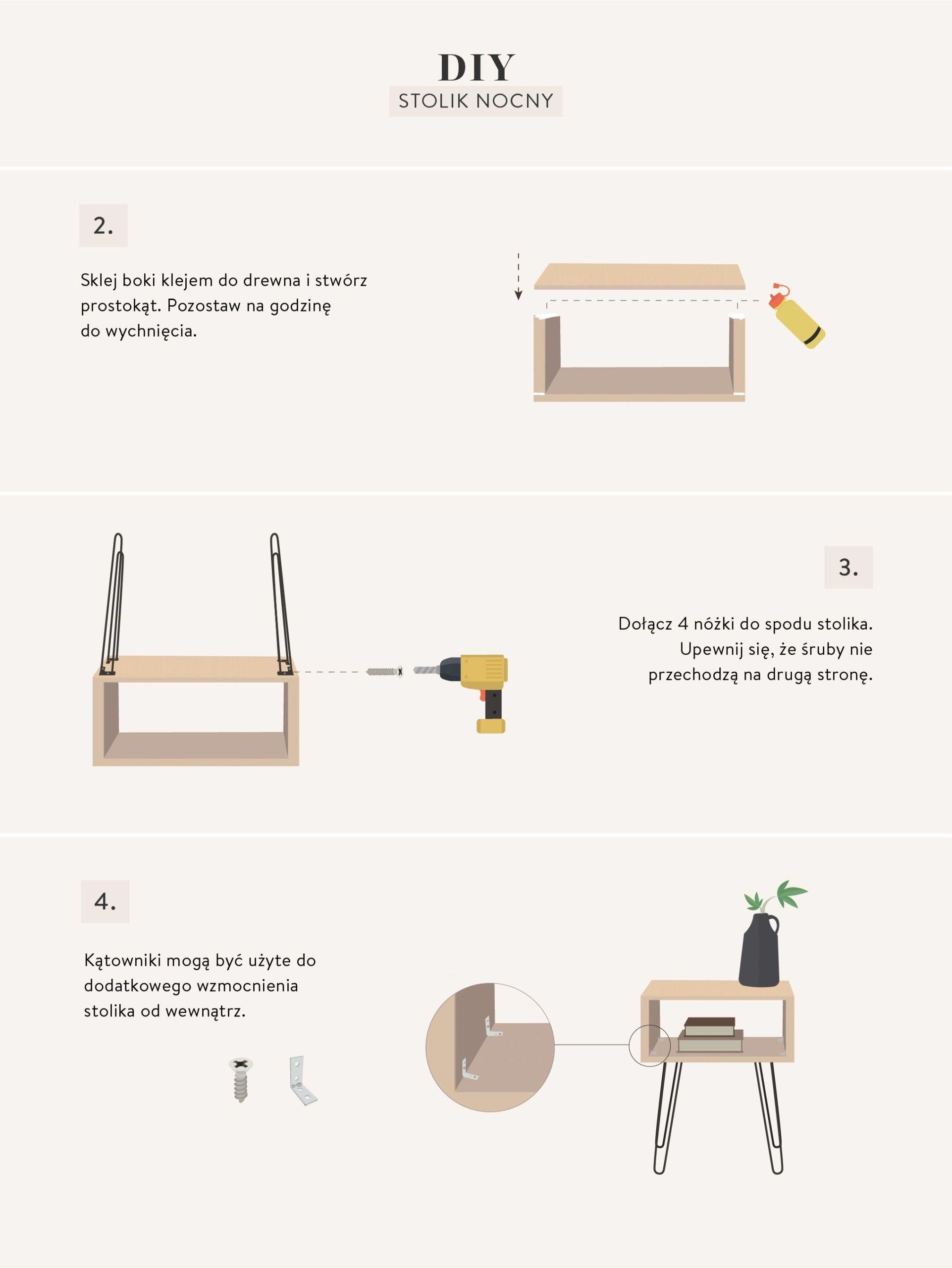 instrukcje wykonania prostego stolika nocnego