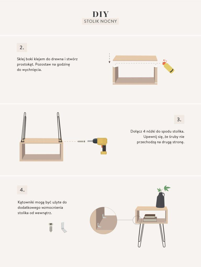 instrukcje wykonania mebli DIY stolika nocnego