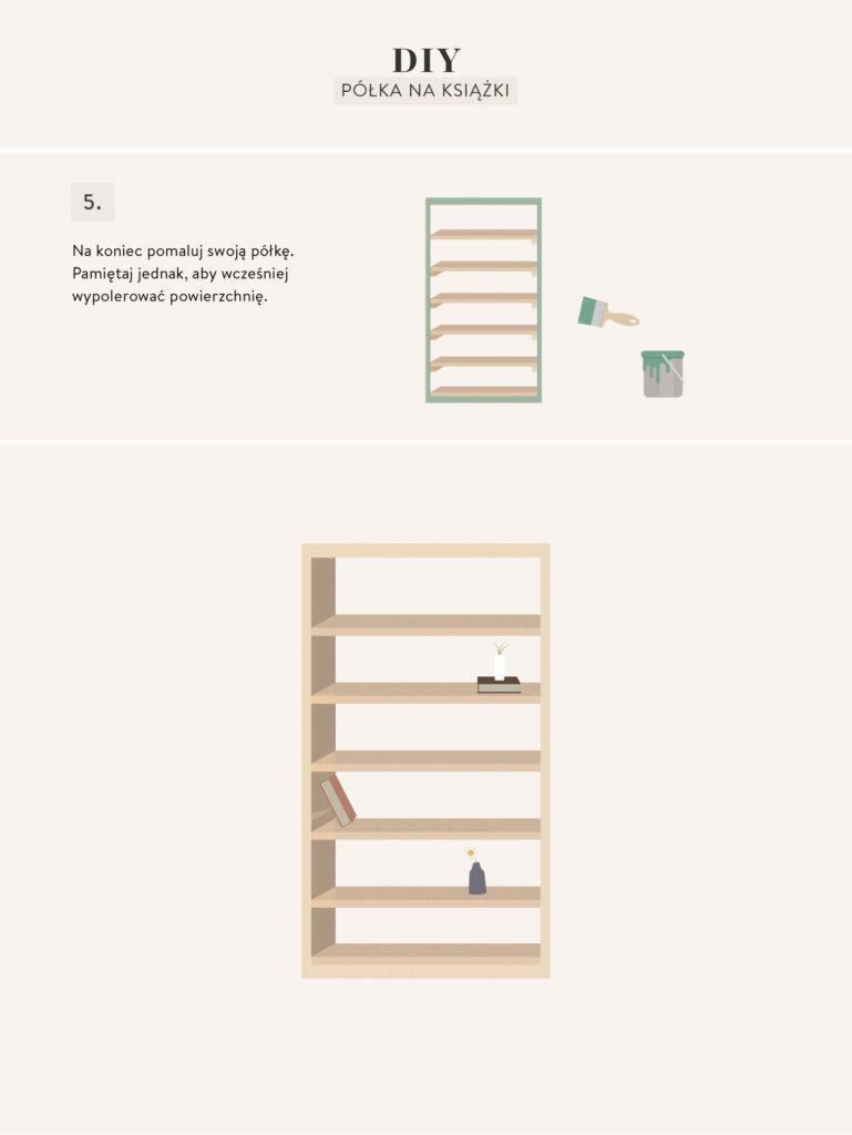 instrukcje wykonania mebli DIY regału na książki