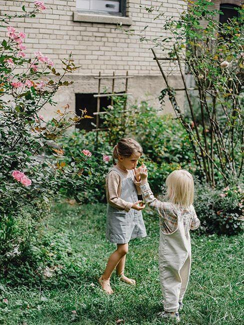 ogród wiejski i bawiące się w nim dzieci