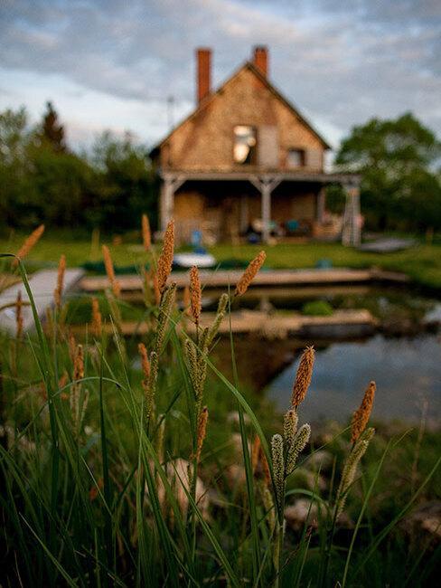 dom i ogród wiejski nad woda