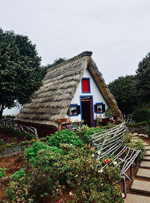 kolorowa chata wiejska ze strzechą z kolorowym przedogródkiem