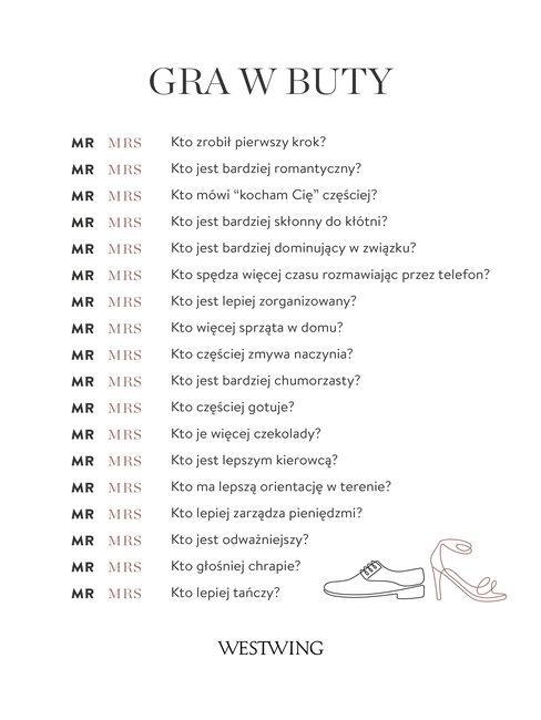 """Lista zabaw weselnych """"Test zgodności"""" do pobrania"""