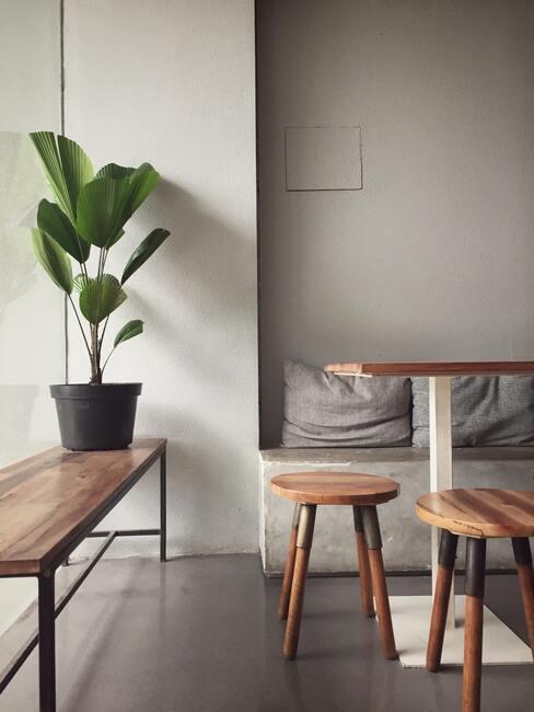 jadalnia z drewnianymi meblami rośliną i betonową ścianąą