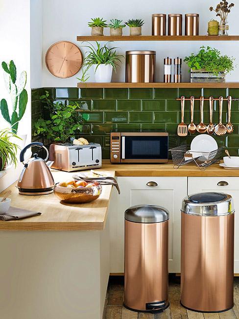 Kuchnia z elementami zieleni