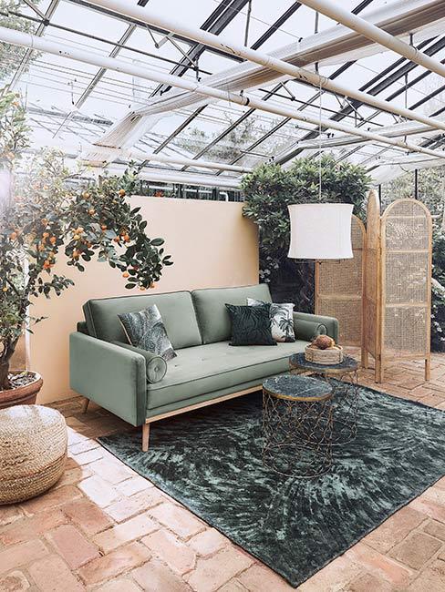 Zielony dywan i sofa w przestrzennym salonie