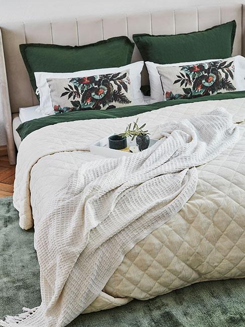 sypialnia z zielonymi poduszkami na zielonym dywanie