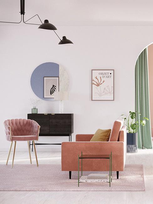 jasny salon z różowymi meblami z aksamiti i dekoracjami w stylu memphis