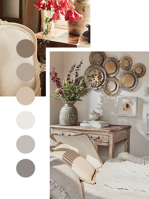 moodboard kolorów w salonie w sytlu modern farmhouse