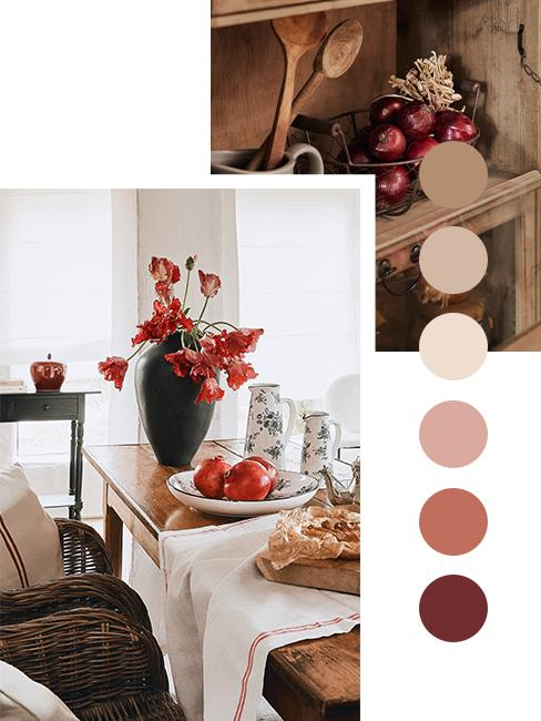 moodbaord kolorów w jadalni w stylu modern farmgouse