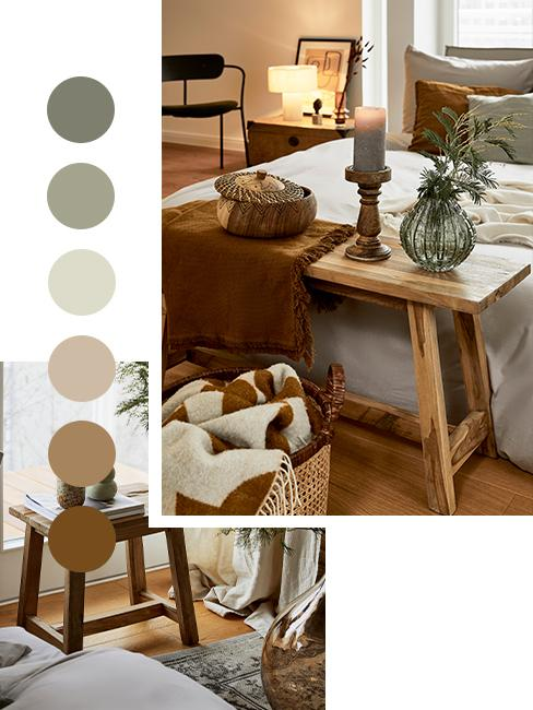 moodboard kolorów w sypialni w stylu modern farmhouse