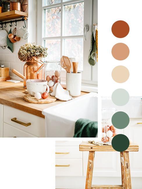 moodboard kolorów w kuchni w stylu modern farmhouse