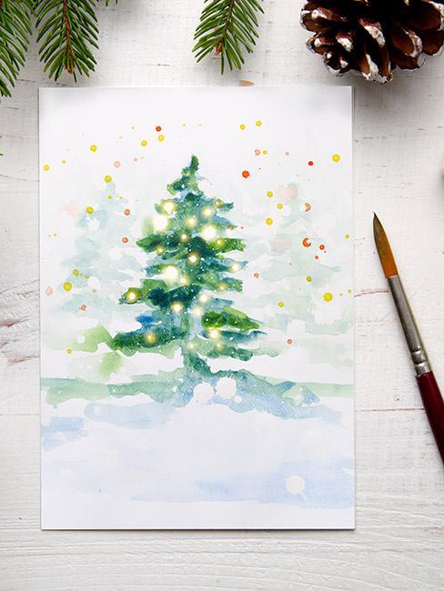 Kartka świąteczna malowana akwarelami