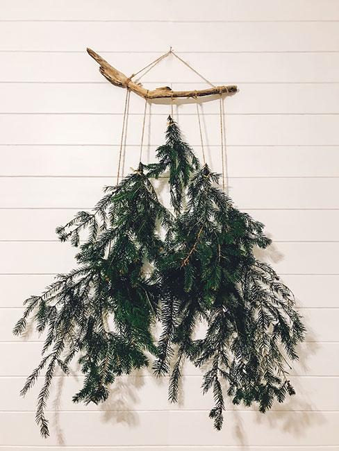 gałęzie świerku zawieszone na ścianie w kształcie choinki