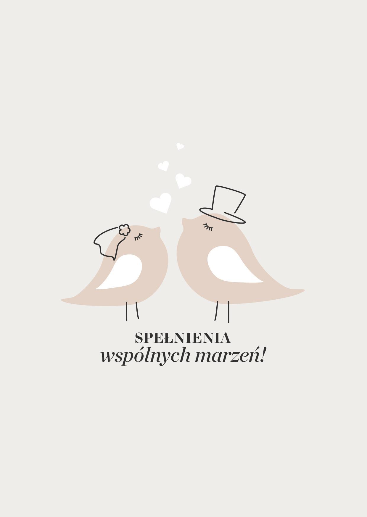 beżowa kartka ślubna z rysunkiem ptaszków