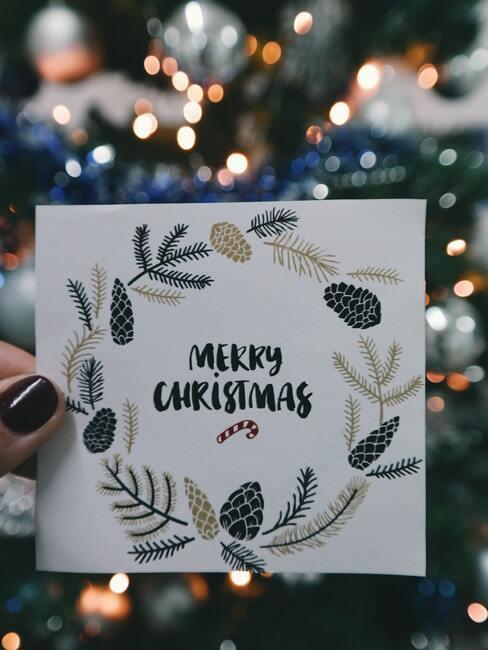 """świąteczna kartka z napisem """"wesołych świąt"""""""
