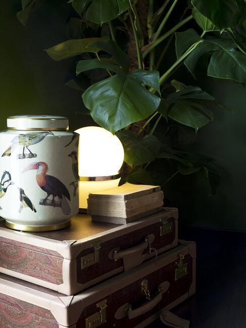 Zbliżenie na stolik nocny z lampą w ptaki