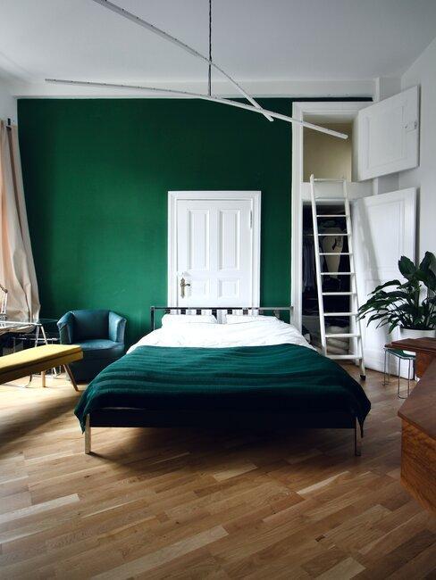 Nowoczesna zielona sypialnia