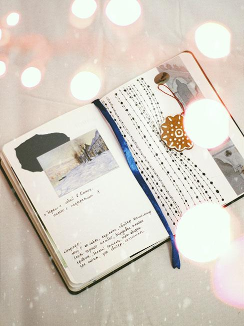 Otawrty pamiętnik z notatkami i zdjęciami