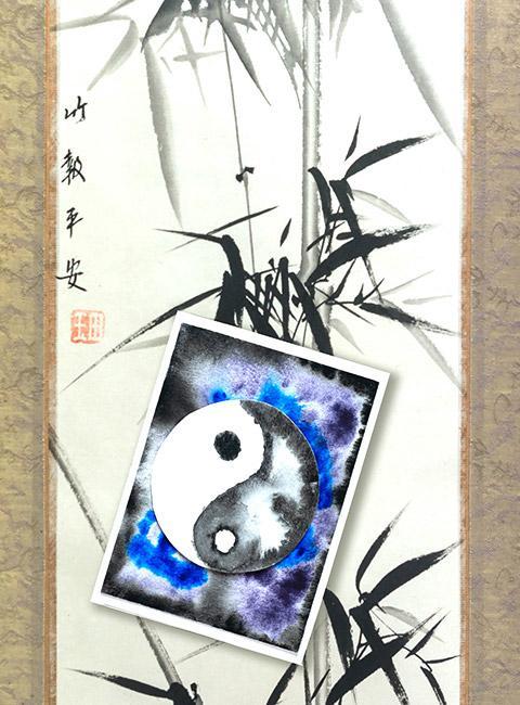 Symbol równowagi ying yang namalowany akwarelami na papierze czerpanym