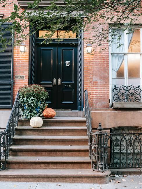 Front domu ze schodami na których stoją rośliny i dynie