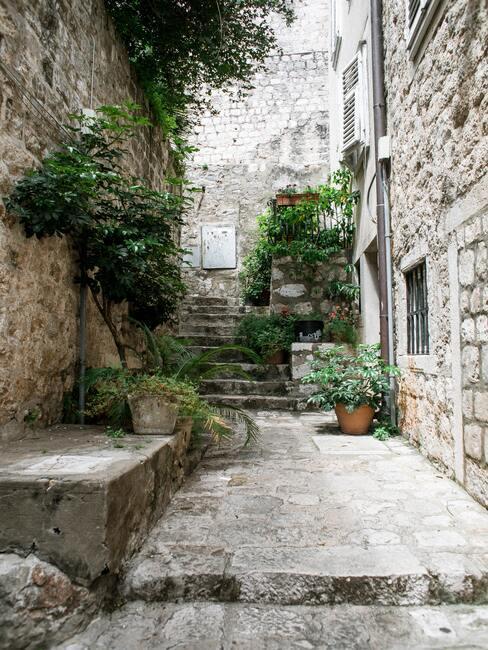 co położyć na schody zewnętrzne zamiast płytek: Klimatyczna uliczka z mnóstwem roślin pośród kamiennych budynków