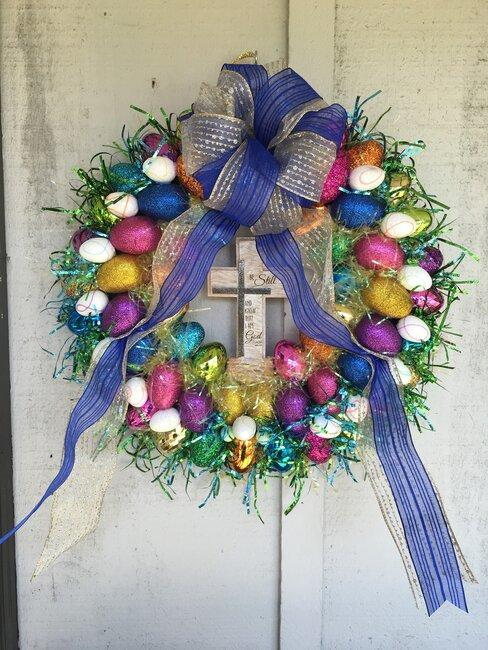 veľkonočná dekorácia na dvere