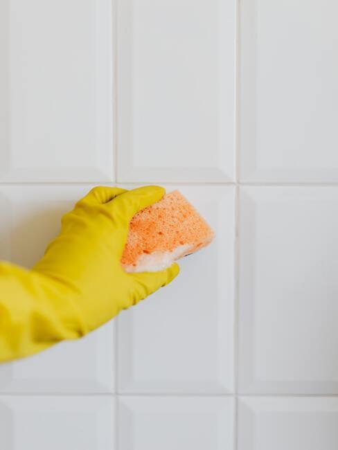 Čistenie kachličiek na stene pomocou hubky