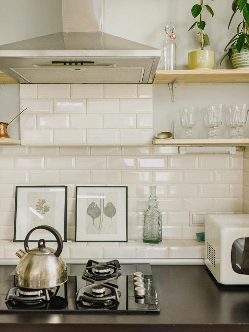Kuchynská linka s kanvicou a mikrovlnnou rúrou