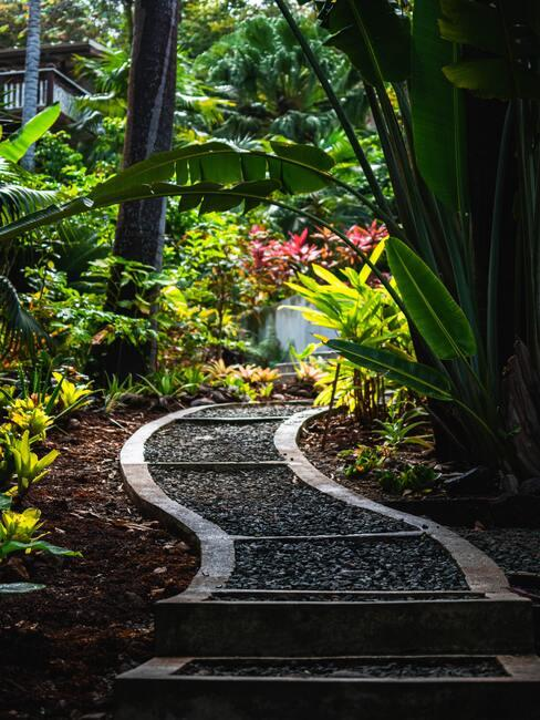 Okrasná záhrada s chodníkom