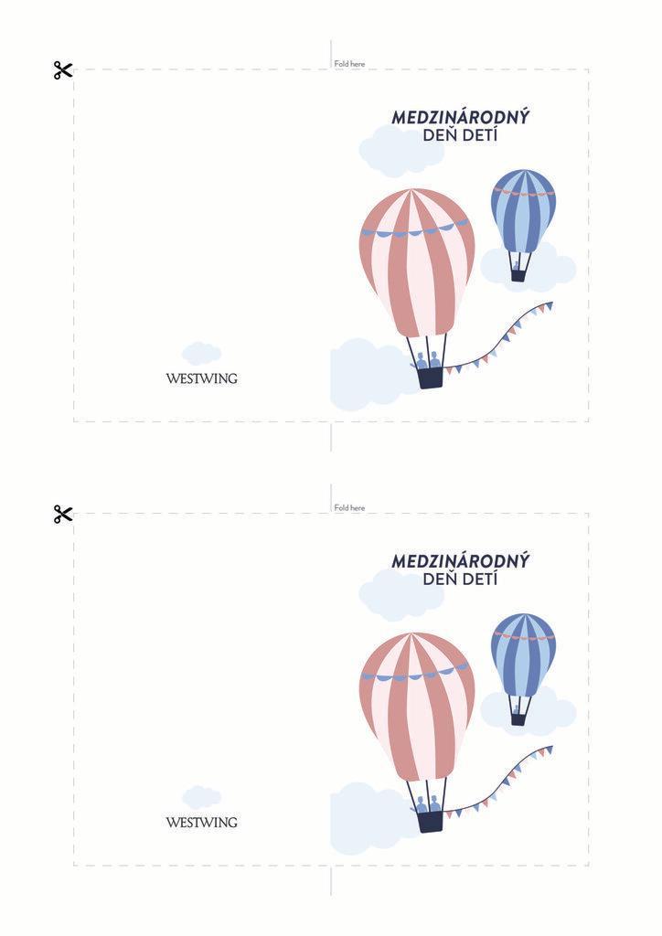 Farebná pohľadnica s balónmi: medzinárodný deň detí