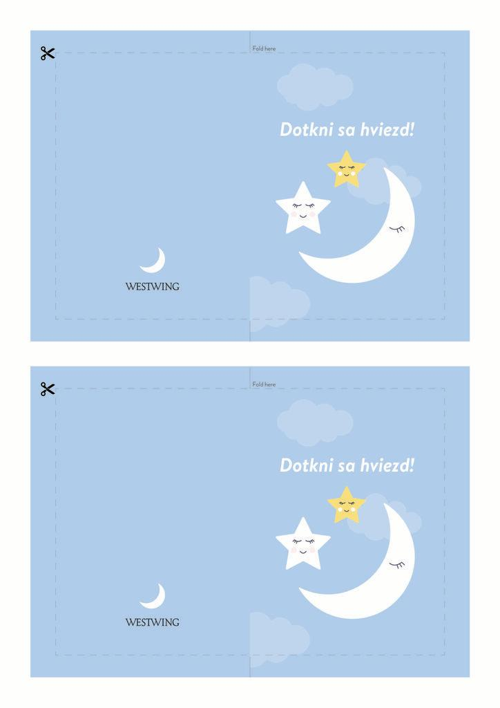 Farebná modrá pohľadnica: dotkni sa hviezd