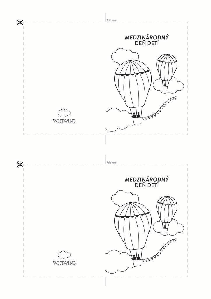 Čierno-biela pohľadnica s balónikmi: medzinárodný deň detí