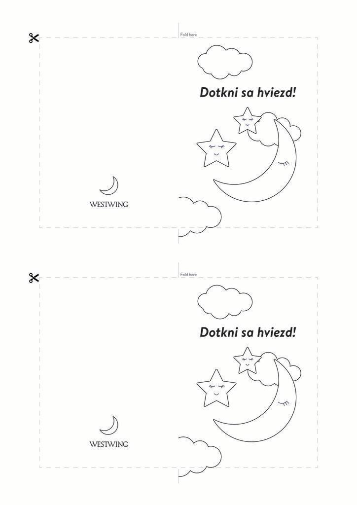 Čierno-biela pohľadnica s mesiačikmi: dotkni sa hviezd