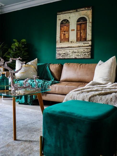 Zeleno-hnedá obývačka