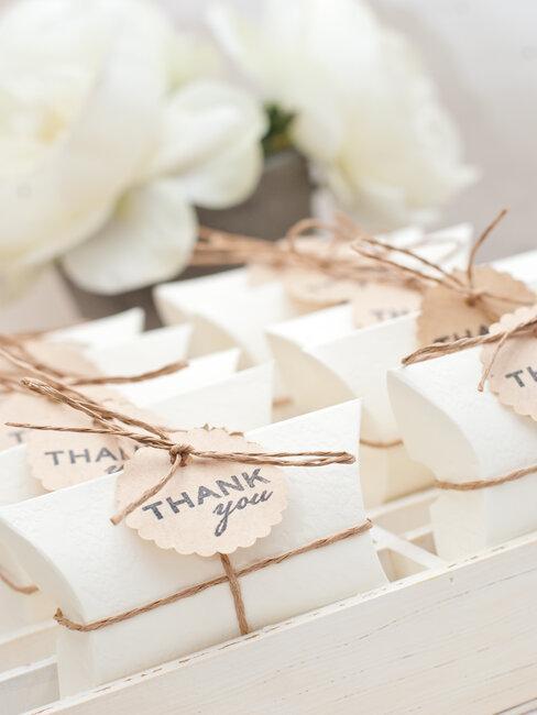 Darček pre svadobných hostí s názvom Thank you