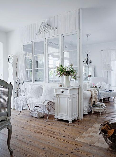 Biela shabby chic obývačka