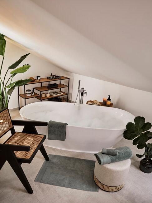 Kúpeľňa s vaňou a prírodnými doplnkami