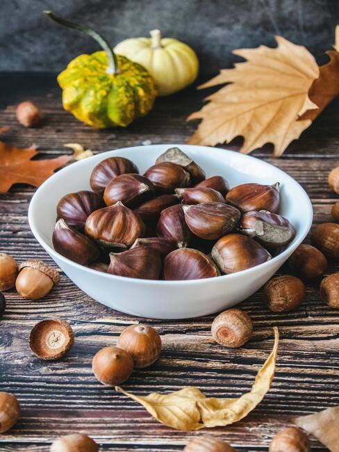 Jesenné dekorácie: gaštany