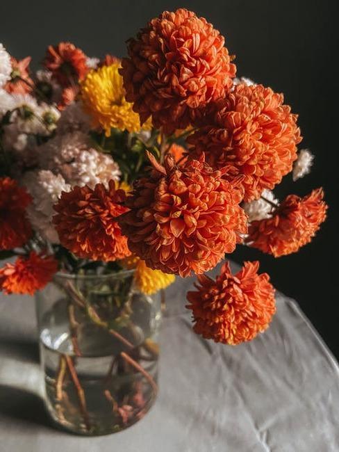 jesenné kvety na stole