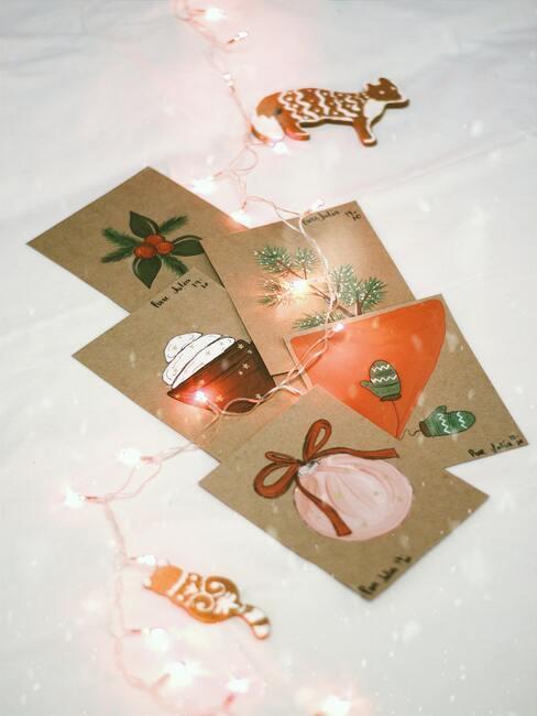 Vianočné pohľadnice z prírodného materiálu